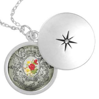 botanical frame red yellowroses grunge background locket necklace