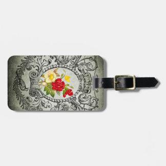 botanical frame red yellowroses grunge background luggage tag