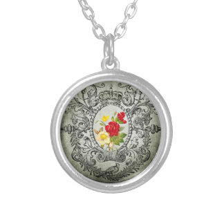 botanical frame red yellowroses grunge background silver plated necklace