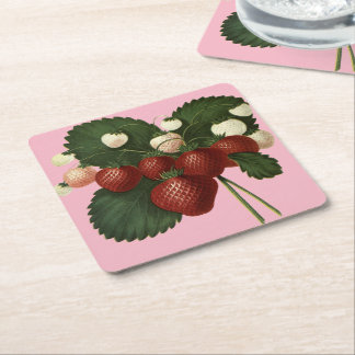 Botanical Fruit Strawberries Square Paper Coaster