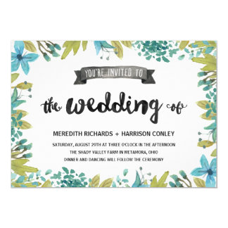 Botanical Garden | Rustic Wedding 13 Cm X 18 Cm Invitation Card