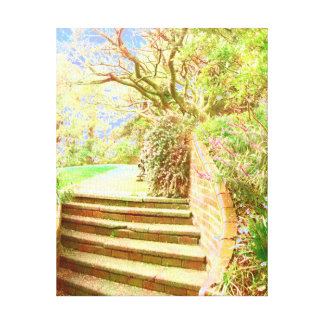 Botanical garden sunlit steps gallery wrapped canvas