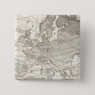 Botanical geographical statistical map of Europe 15 Cm Square Badge
