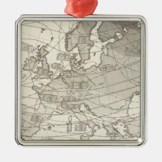 Botanical geographical statistical map of Europe Silver-Colored Square Decoration