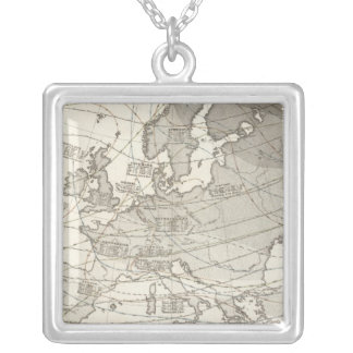 Botanical geographical statistical map of Europe Silver Plated Necklace