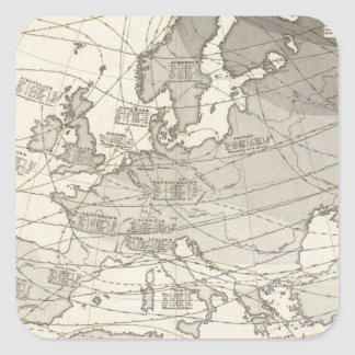Botanical geographical statistical map of Europe Square Sticker