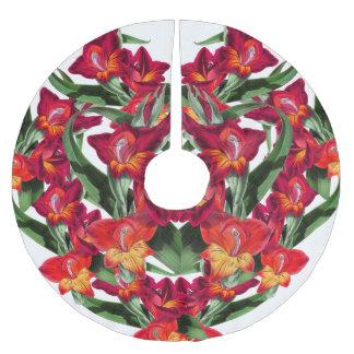 Botanical Gladiola Flowers Floral Tree Skirt Brushed Polyester Tree Skirt
