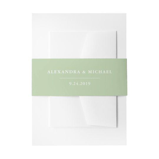 Botanical Green and White Wedding Invitation Belly Band