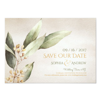 Botanical greenery vintage rustic save the date card
