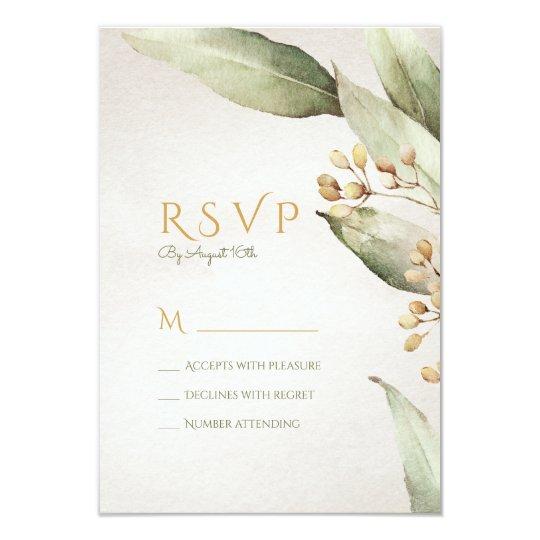 Botanical greenery vintage rustic wedding RSVP Card