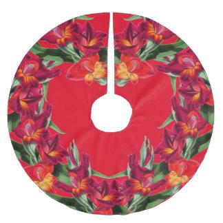 Botanical Heart Gladiola Flowers Floral Tree Skirt Brushed Polyester Tree Skirt