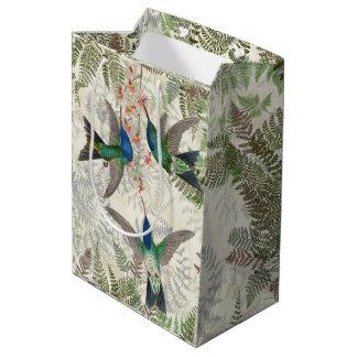 Botanical Hummingbird Birds Floral Ferns Gift Bag