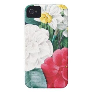 Botanical illustration Camelias & Daffodils iPhone 4 Case-Mate Cases