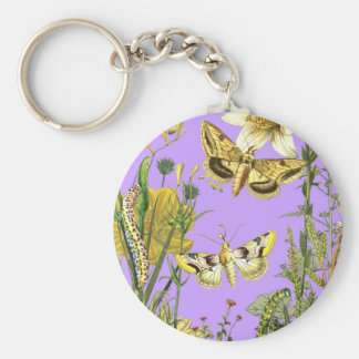Botanical Illustration Floral with Butterfly Key Chains