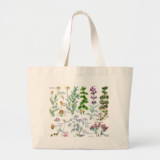 Botanical Illustrations - Larousse Plants Large Tote Bag