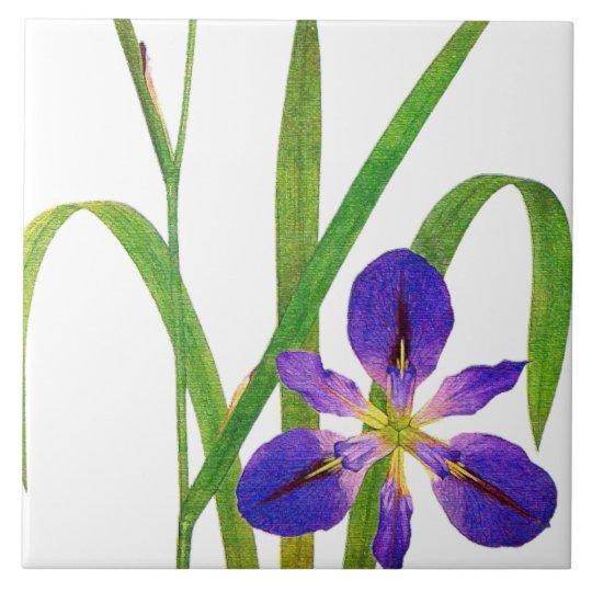 Botanical Iris Flowers Redoute Floral Garden Tile