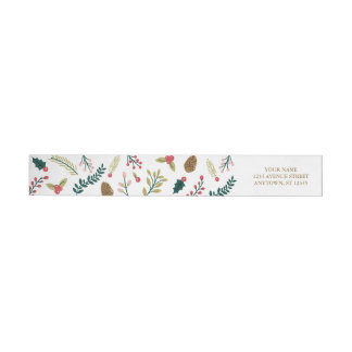Botanical Joy Christmas Greeting Wrap Around Label