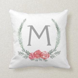 Botanical Laurel Wreath Monogram Cushion