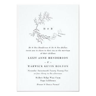 Botanical Leafy Floral Monogram Wreath Wedding Invitation