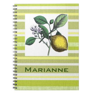 Botanical Lemon on Yellow White Linen Look Stripes Notebook