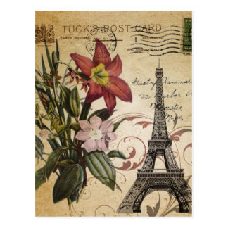 Botanical Lily vintage scripts Paris Eiffel Tower Postcard