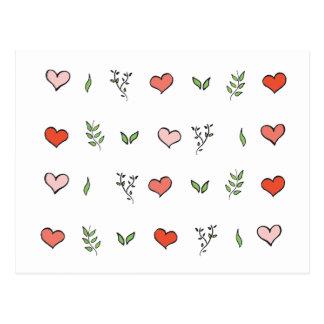 Botanical Love: Green botanical red heart pattern Postcard