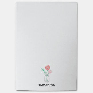 Botanical Mason Jar Flowers Personalized Post-it® Notes