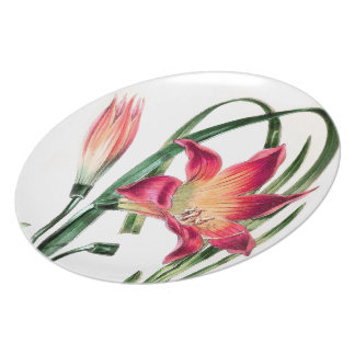 Botanical Meadow Lily Flowers Floral Plate