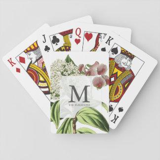 Botanical Monogrammed Floral Vintage Illustration Playing Cards