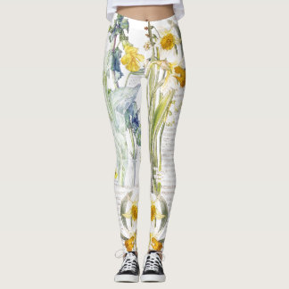 Botanical Narcissus Flower All Over Print Leggings