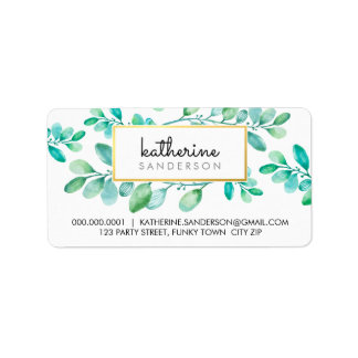 BOTANICAL NATURE modern watercolor painted leaves Address Label