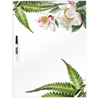 Botanical Peony Flowers Ferns Dry Erase Board