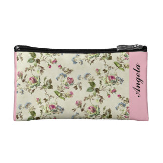botanical pink and blue flowers pattern all over cosmetic bag