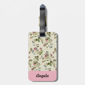 botanical pink and blue flowers pattern all over luggage tag
