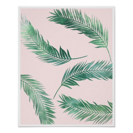 Botanical pink and green nature poster print