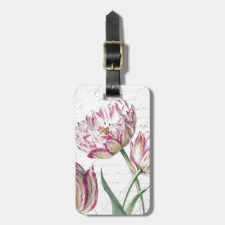 Botanical Pink and White Tulip Illustration Luggage Tag