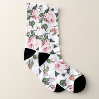 Botanical Pink Cabbage Rose Flowers Socks 1