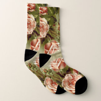 Botanical Pink Cabbage Rose Flowers Socks 1