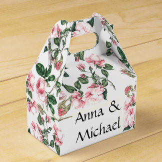 Botanical Pink Rose Flowers Floral Favor Box Party Favour Boxes