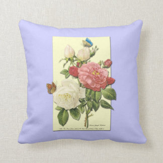 Botanical Pink White Roses Butterfly Pillow Cushion