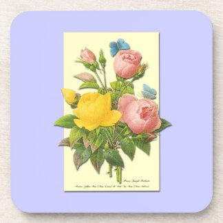 Botanical Pink Yellow Roses Beverage Coasters