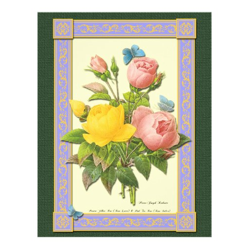 Botanical Pink Yellow Roses Custom Flyer