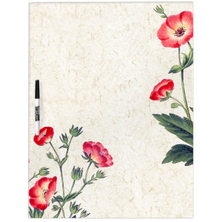Botanical Poppy Flowers Floral Board Dry-Erase Board