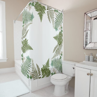 Botanical Rain Forest Ferns Leaves Shower Curtain