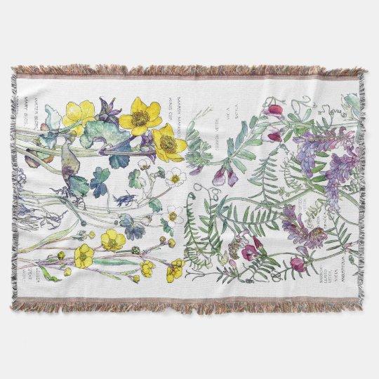Botanical Ranunculus Vetch Flowers Throw Blanket