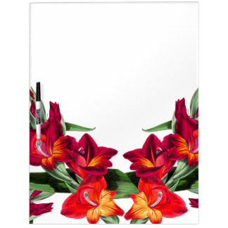 Botanical Red Gladiola Flowers Floral Board Dry Erase White Board