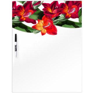 Botanical Red Gladiola Flowers Floral Board Dry-Erase Whiteboards