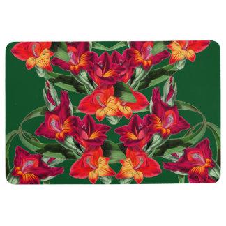 Botanical Red Gladiola Flowers Floral Floor Mat
