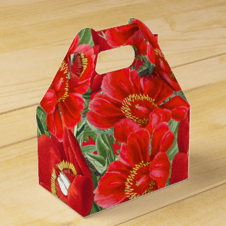 Botanical Red Peony Flowers Favor Box Wedding Favour Box