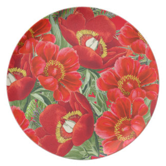 Botanical Red Peony Flowers Floral Plate